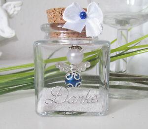 Blau-Weiss Schutzengel im Glas ,Gastgeschenk,Taufe,Hochzeit ,Kommunion ,Geburt