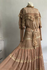 Vintage 1930s Victorian Style Nude Chiffon and Silk Ribbon Dress Gown Tiered VTG