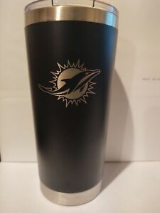 MIAMI DOLPHINS BLACK ENGRAVED HYDRO TUMBLER INSULATED DOUBLE WALL TRAVEL MUG