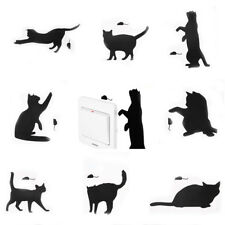 2pcs Home Wall Decals Black Cute Cat Switch Decal Vinyl Wall Stickers Removable