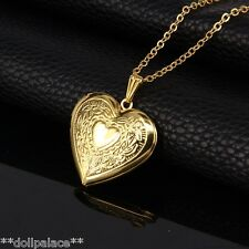 18K Gold Heart Photo Locket Pendant Chain Necklace High Quality *UK*