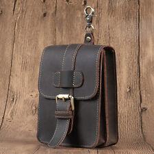 New Men's Vintage Genuine Leather Phone Belt Pouch Cowhide Hook Fanny Waist Bag