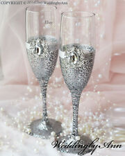 Personalized Wedding glasses, Toasting Flutes, Wedding glasses, Set of 2