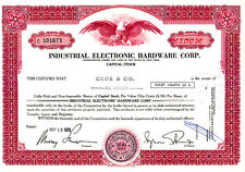 Industrial Electronic Hardware Corp. NY 1973 Stock Certificate