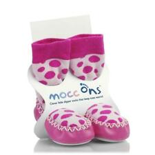 18-24m Kids Babies Toddler Mocc ons Slipper Socks Shoes Leather Sole Pink Spotty
