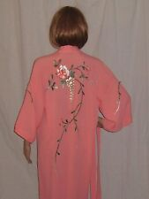 Vintage 40s Robe Kimono Duster Dress Jacket Embroidered Coral Rayon Crepe S/M