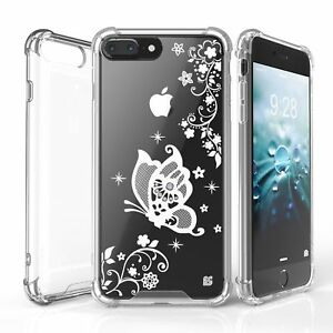 For  iPhone 7 Plus / 8 Plus Slim Bumper Shockproof Case WHITE Butterfly