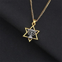 Hanukkah Menorah Star of David Jewish Pendant Necklace Israel Faith Luck Pendant