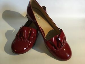 "Miu Miu Red Patent Leather Flats With Ruffle Accen.Size 38.5/US8.5 Heel 0.5""H"