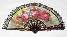 Fan Spanish Roses Lace Black Plastic Goldtone Decoration