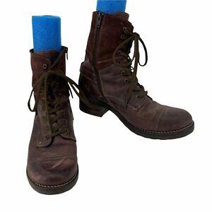 Taos Crave Combat Boots Women's Size 10-10.5 Bordeaux Purple High Leather Suede