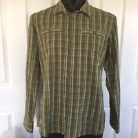 Kathmandu Mens Green Plaid Button Up Shirt Size L Long Sleeve Front Pockets