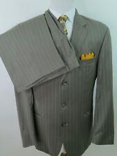 Hugo Boss Virgin Wool Light Brown Striped Two Piece Men's Suit 42 L 36x35 USA