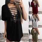 ZANZEA Women Short Sleeve Casual Solid Deep V Lace Up Loose Mini Dress Clubwear