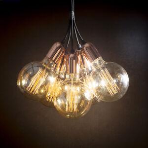 Vintage copper ceiling pendant light cluster chandelier  + free UK P&P