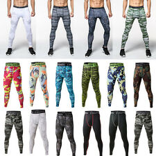 Camo Men Sports Compression Tights Thermal Base Layer Long Gym Fitness Pants