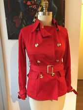 United Colors Of Benetton Waist Length Red Belted Trench Coat Jackoet Size 42 S