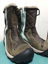 KEEN Warm Womens 7 Winter Snow Boots 200 Gram Insulated  Zipper Dry Brown Aqua