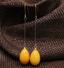 Unique design yellow baking paint glass 9*13mm long earrings free shipping
