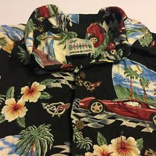 VTG Reyn Spooner Mens Small HAWAIIAN Black SHIRT 50th Anniversary Corvette Cars