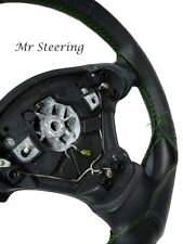 FOR AUDI A4 B5 B6 BLACK REAL LEATHER STEERING WHEEL COVER GREEN STITCH 1994-2005