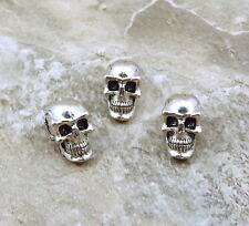 Set of 3 Pewter 5.5 mm SKULL Beads with Vertical Hole - 1451