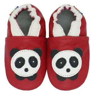 carozoo panda red 12-18m soft sole leather baby shoes