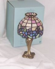 PartyLite Hydrangea Tealight Lamp Hand Cut Tiffany Style Stained Glass P7790