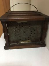 Antique Coach Church Wooden Punch Tin Foot Warmer Portable Stove with Ads