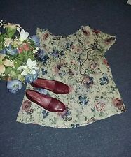 A New Approach ana Short Sleeve Floral Ruffle Neck Tunic Blouse Top size 1X EUC
