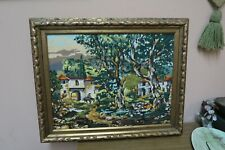 "Vintage Handmade Finished Needlepoint 14"" X 18"" - 18"" x 22"" Framed Royal Paris"