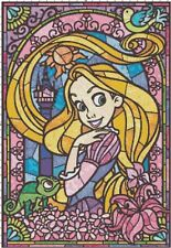 Handmade Stained Glass Tangled Rapunzel DIGITAL Counted Cross-Stitch Pattern