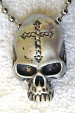 SKULL with CROSS PEWTER PENDANT MENS BOYS NECKLACE CHAIN   PC0540