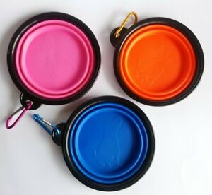 Pet Dog Cat Feeding Collapsible Portable Silicone Bowl Travel Dish Food Water