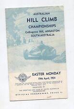 1954 Collingrove Hill Climb Programme Racing Sports Program