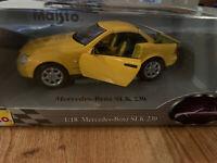 RARE 1996 MERCEDES BENZ SLK 230 1:18 SCALE MAISTO YELLOW DIE CAST MODEL