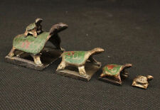 AMAZING Old HANDWORK  BRONZE CARVED 5 TURTLES SHAPE SUPERB SEAL STATUE nr