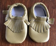 Baby Fringe Leather Booties Moccasins Gold 12 - 18 Months NEW Cute!