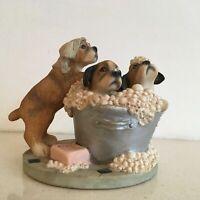 Leonardo Ceramic Boxer Puppies in a Bath with Soap & Bubbles Figurine