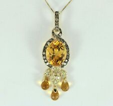 $3950 LeVian 14K Gold Chocolate Diamond Yellow Topaz Citrine Chandelier Necklace