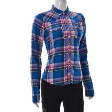 Hollister Women's Button Up Western Shirt Long Sleeve Multicolored Medium Plaid