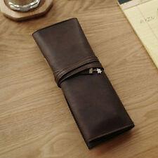 PU Leather Fashion Pencil Pen Case Cosmetic Pouch Pocket Brush Makeup Bag