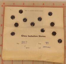 288 Vintage gunmetal 11mm glass flat back flowers setting center Germany US Zone