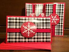 New Holiday Christmas Card Set of 4 With Envelopes Plaid Snow Flake 5 x 3 Inch