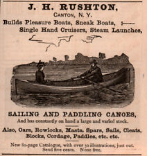 AD LOT OF 3 1889 - 90 'S ADS RUSHTON SAILING CANOES SPARS SARANAC
