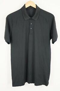 Lululemon Mens Sz Large Black Short Sleeve Polo Athletic Shirt