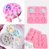Silicone Pet Dog Bone Paw Soap Mold Candy Chocolate Fondant Tray ICE Cube Mould