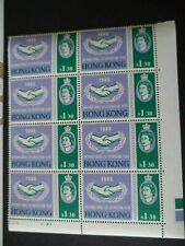 Hong Kong 1963 ICY $1.30 corner plate block of 8 U/M with missing hyphen 'Co-op'