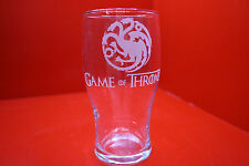 Laser Engraved Pint Glass Game Of Thrones Targaryen 3 Dragons Fire And Blood