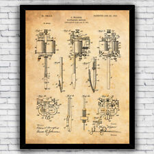 Tattoo Machine Electric 1900s Patent Art Print Decor - Size and Frame Options